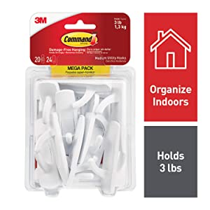 Command Utility Hooks Mega Pack, Medium, White, 20-Hooks (17001-MPES)