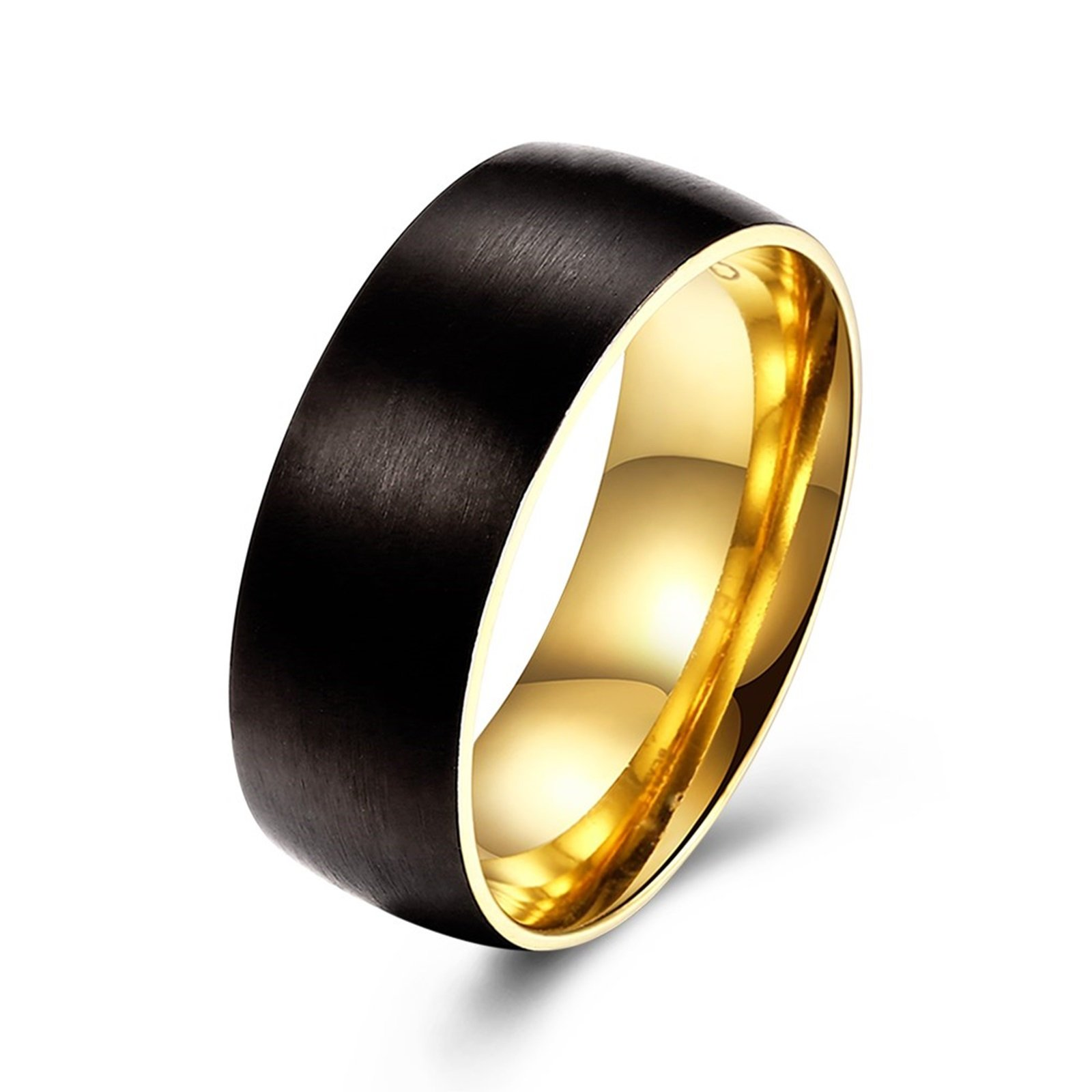 Epinki 8MM Mens Wedding Band Two Tone Black and Gold Polished Stainless Steel Ring Size 7 Men Accessories
