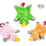 3 Pack Squeaky Dog Toys ,Plush Funny Rope Chew Animal Puppy Toys for Small Medium Dogs Cat
