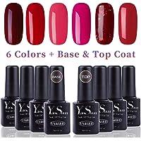 Vernis Gel Semi Permanent - Y&S UV LED Vernis à Ongles Gel Soak Off Débutant 8ml Kit 6 Couleurs Plus Top et Base Coat, Lot Rouge Magnifique