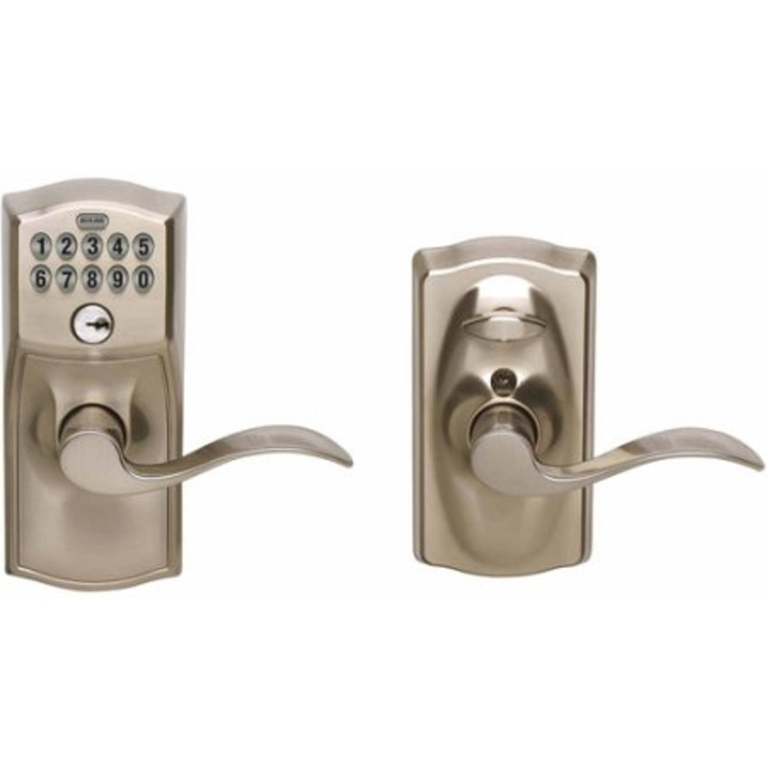 Entry Lever Keypad Door Lock Satin Chrome Accent