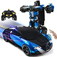 VillaCool 1:14 Scale Remote Control Car RC Robot Cars Toys for Kids Gesture Sensing Transformrobot Car One-Button…