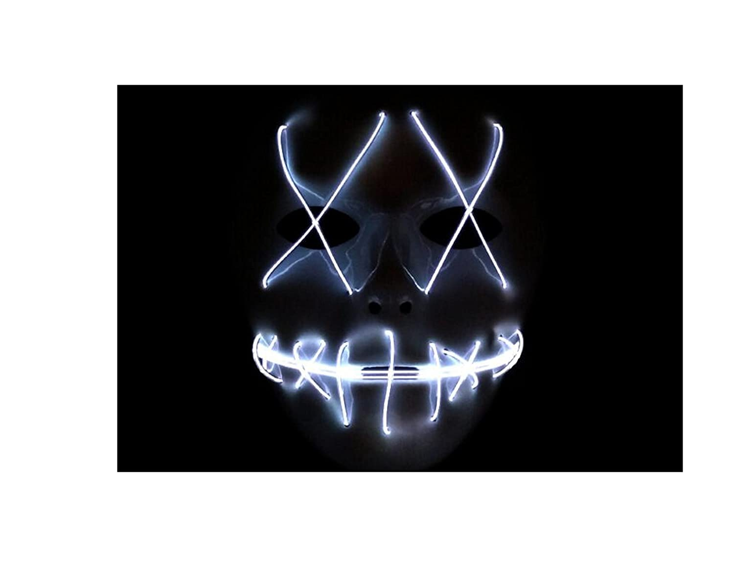 Sparik Enjoy Scary Mask Halloween Cosplay Led Costume Mask El Wire Light up Mask for Festival Parties White 1pc White Led