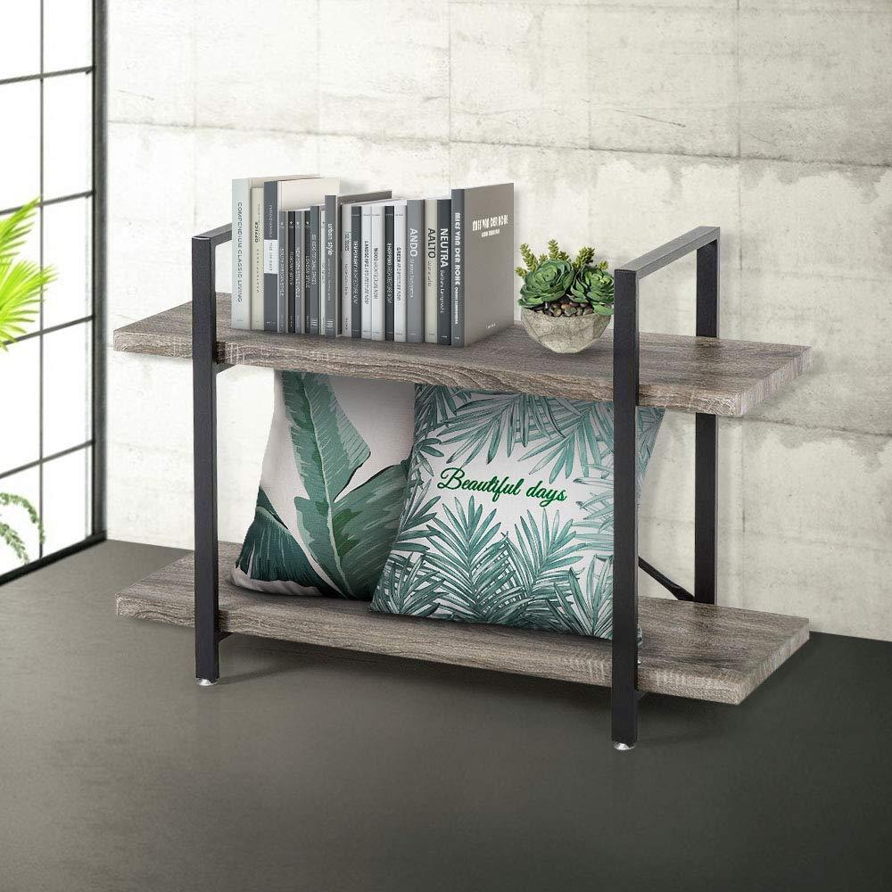 Bookcase 2 Tier Bookshelf Vintage Industrial Shelf Wood Display and Storage Bookcases Metal Frame Furniture Home Office