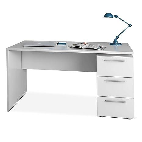 Habitdesign 004605A - Mesa de despacho 3 cajones, Mesa Escritorio Color Blanco Artik, Modelo Stylus, Medidas: 74 x 138 x 60 cm de Fondo