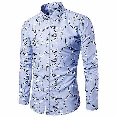 Batnott Herren Hemd Mens Blau Casual Langarmhemd Business Slim Fit Bluse  mit Print Männer Baumwolle Regular e68ca4e1ac