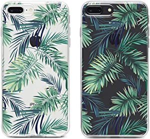 Obbii Clear Case for iPhone 8 Plus/7 Plus/6 Plus/6S Plus Palm Tree Leaves Unique Design Hard Shell Solid PC Back Soft TPU Bumper Protective Case for iPhone 7 Plus/8 Plus/6 Plus/6S Plus(5.5')