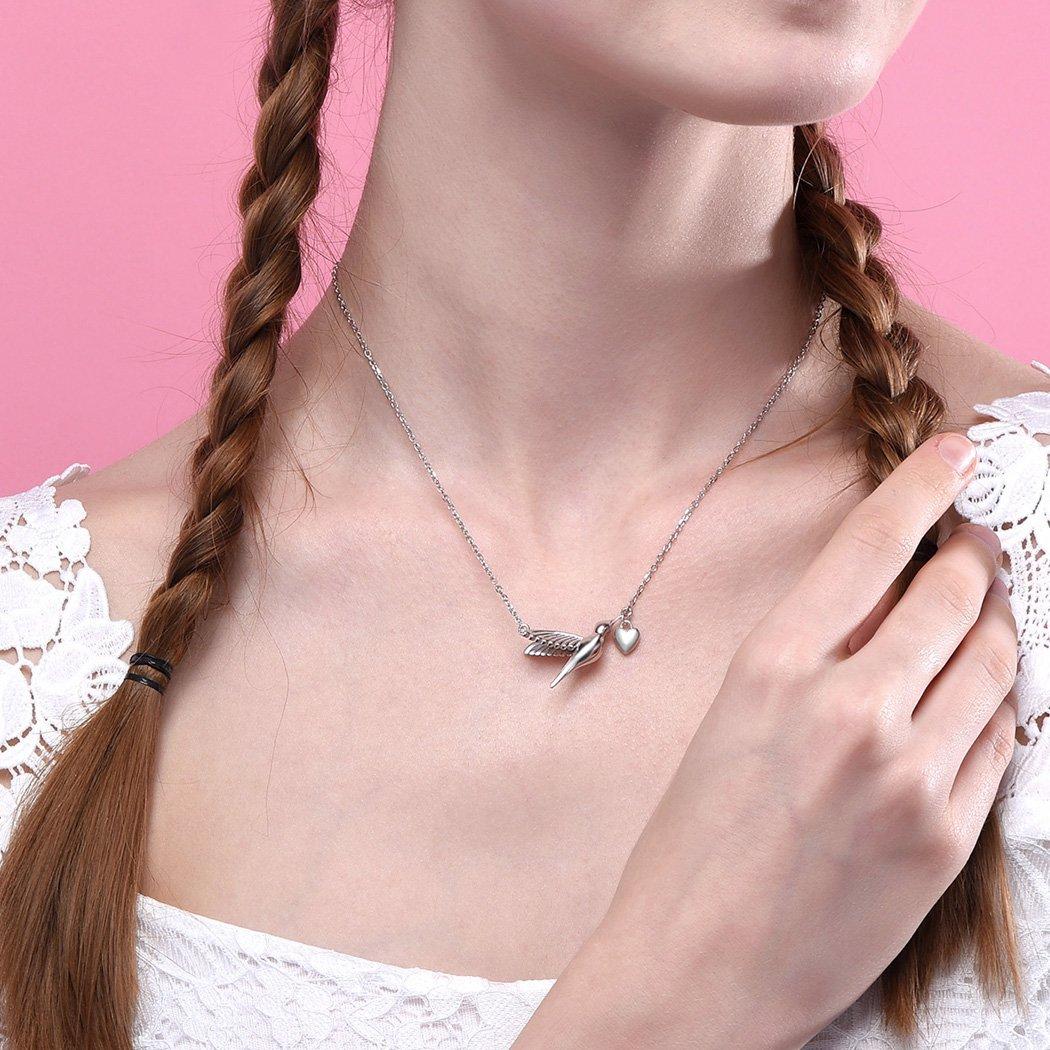 SILVERCUTE Novelty Heart Hummingbird Women Necklace 925 Sterling Silver Fine Jewelry Bird Pendant & Chain by SILVERCUTE (Image #4)