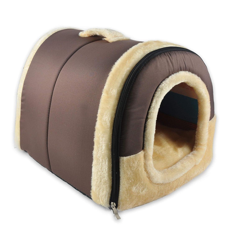 CJOY Camas y sofá Suaves para Mascotas, 2 en 1 con Almohada de cojín Cálido, Acogedor, Antideslizante Plegable para Gatito Grande y Grande para ...