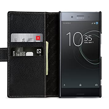 StilGut - Funda Cartera de Piel Talis para Sony Xperia XZ Premium, Negro