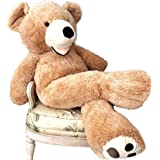 Hot Giant Huge Teddy Bear Cuddly Stuffed Animals with Big Footprints Light Brown Toy Doll for Birthday Christmas (Light Brown