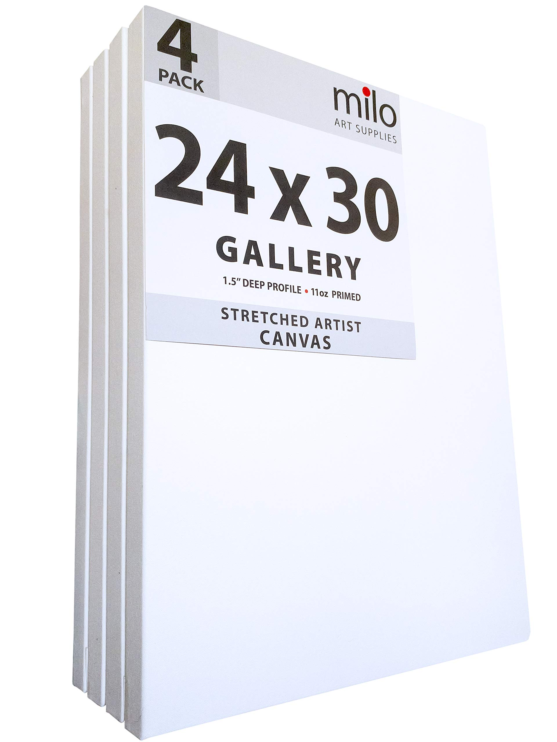 MILO PRO | 24 x 30'' Stretched Canvas Pack of 4 | 1.5'' inch Deep Gallery Profile | 11 oz Primed Large Professional Artist Painting Canvases | Ready to Paint White Blank Art Canvas Bulk Set by milo