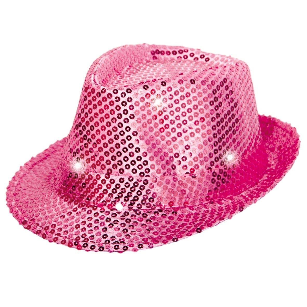 FOLAT Party 24073 Tribly Hat with Sequins and LED Lighting – Unisex Adult – Magenta, One Size