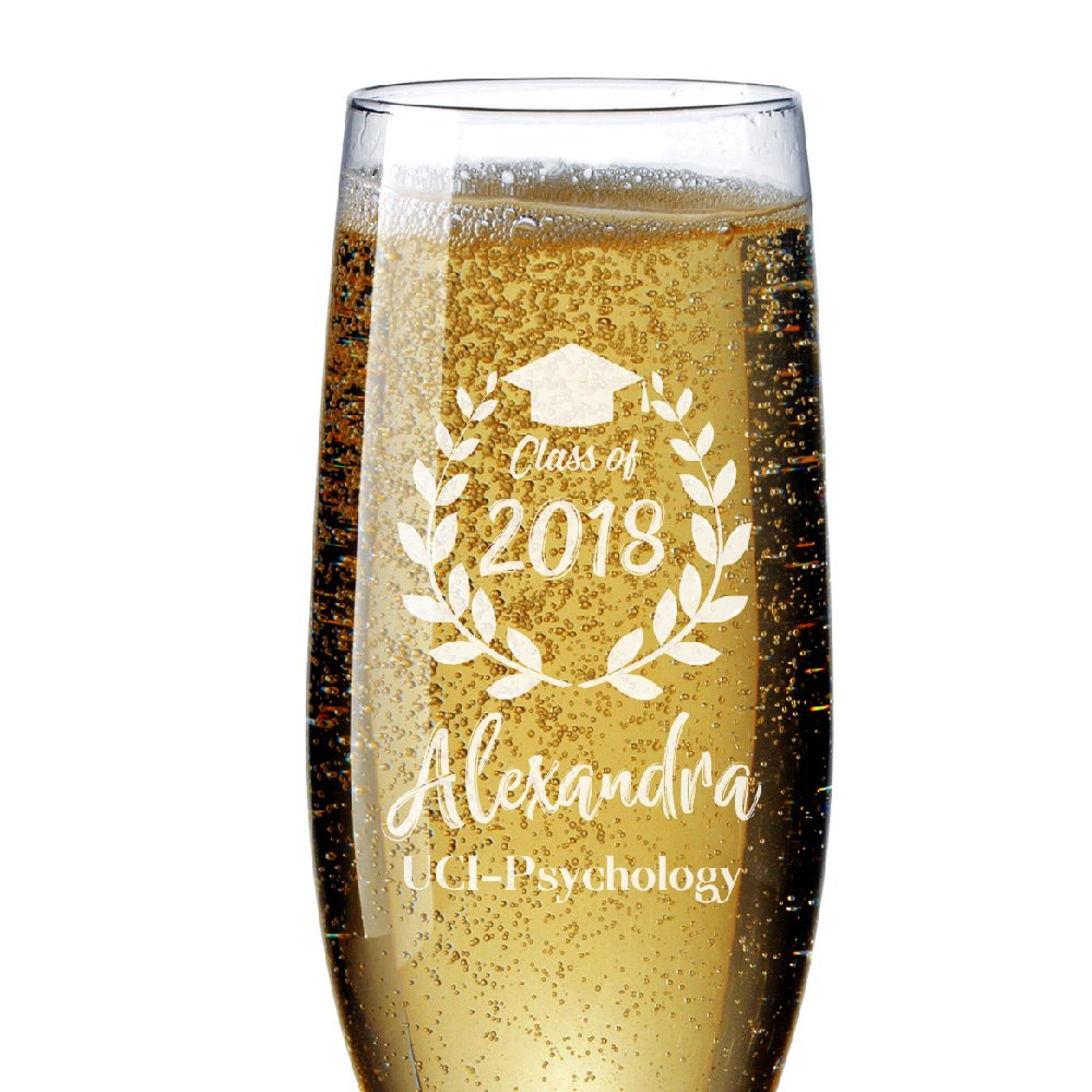 Personalized Graduation Champagne Flutes Customizable with College Name, Year of the Graduation and Name - Free Engraving - Graduation Gift for Her Him | #G1