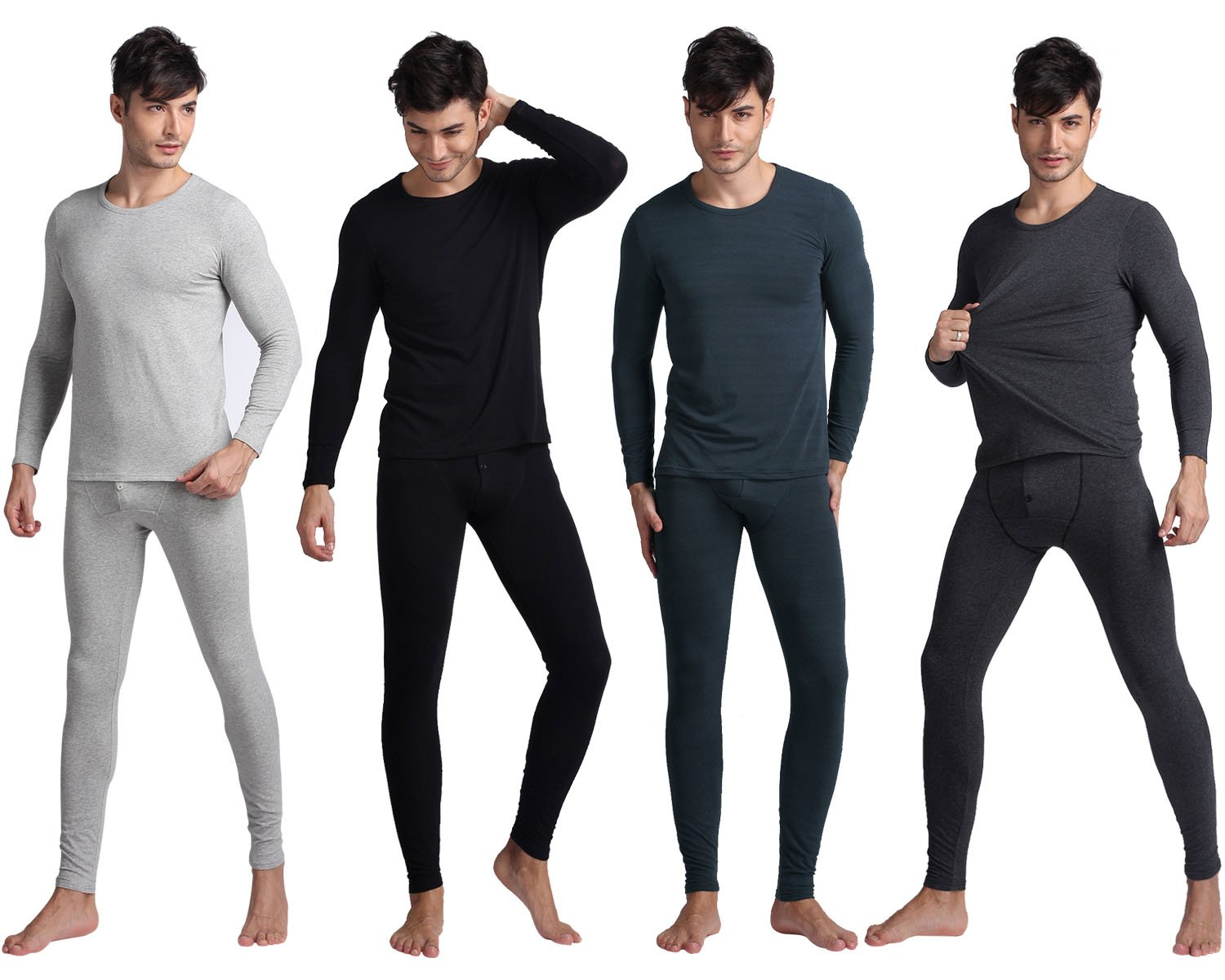Godsen Men's Thermal Underwear Set 100% Cotton GW01-Grey