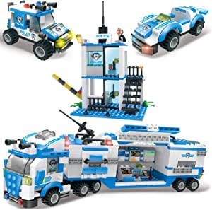 Riot City Police Building Blocks, Exercise N Play Toddlers Construction Toys Car Command Center Station Bricks for Boys Girls 6 7 8 9 10 (Blue)