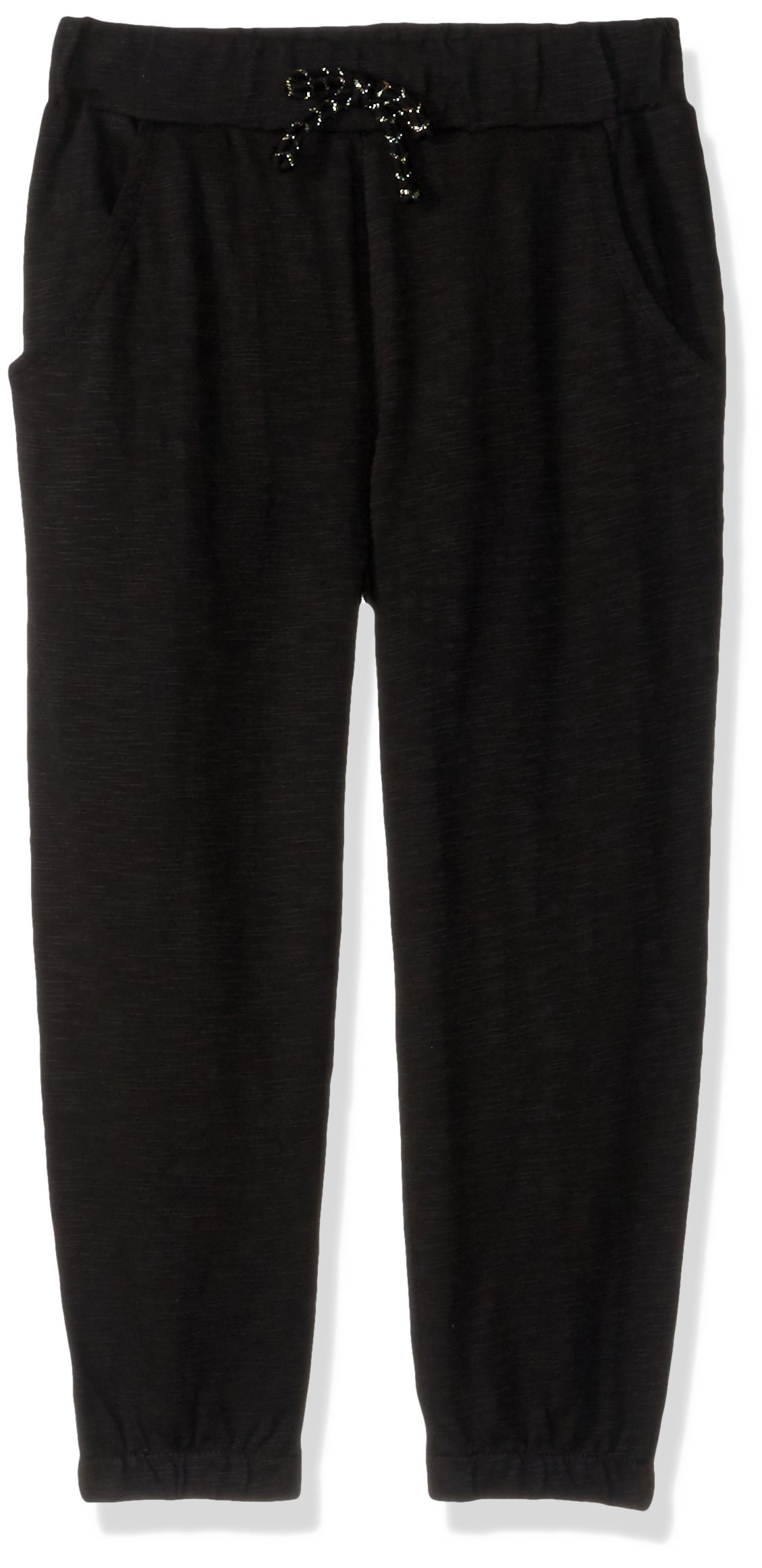 Gymboree Big Girls' Pull-on Knit Joggers, Black Slub, 7