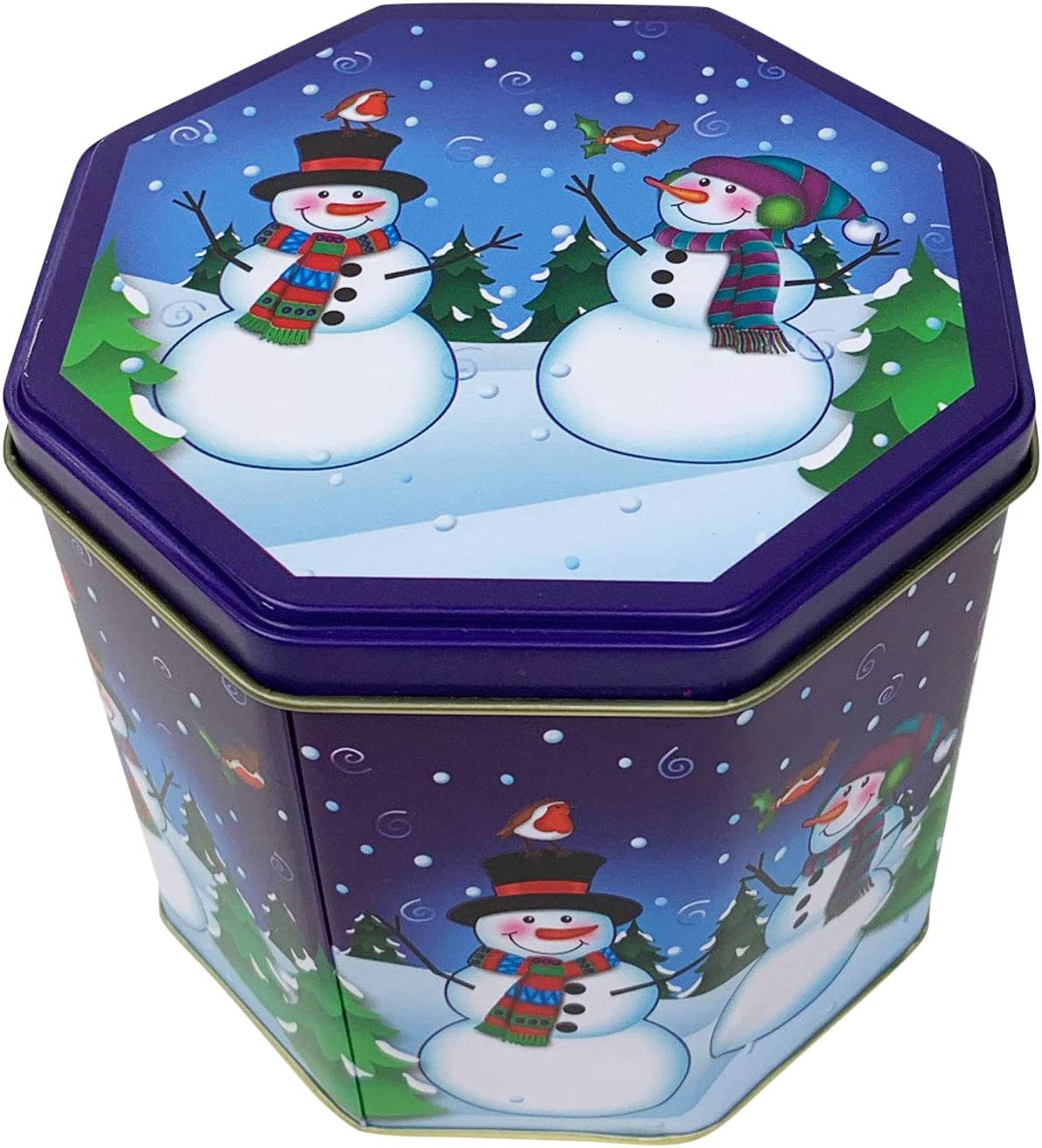 Christmas Holiday Octagon Nesting Cookie Tins Blue-Snowman
