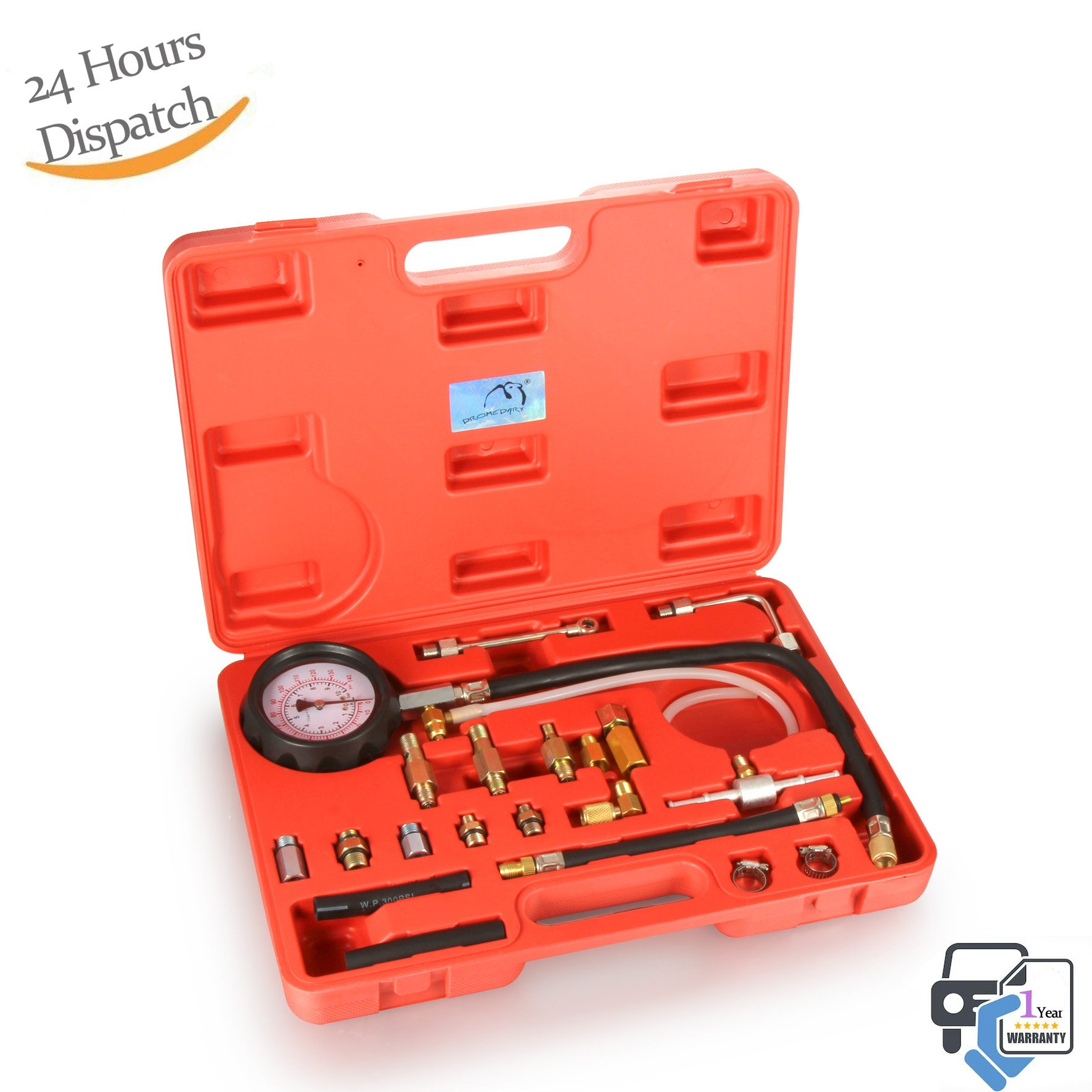 Dromedary Fuel Injection Pump Injector Tester Kit Test Pressure Gauge Red Case 0-140PSI