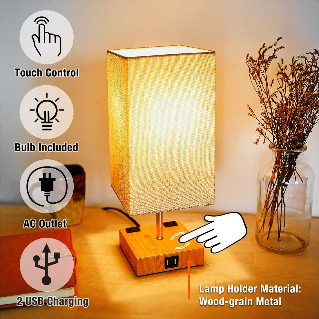 3-Way Touch Control Dimmable Table Lamp Modern Bedside Nightstand Lamps, with 2 USB Charging Ports,2 AC Outlets, Fabric Shade,60W Equivalent Vintage LED Bulb Included, for Bedroom Living Room Office