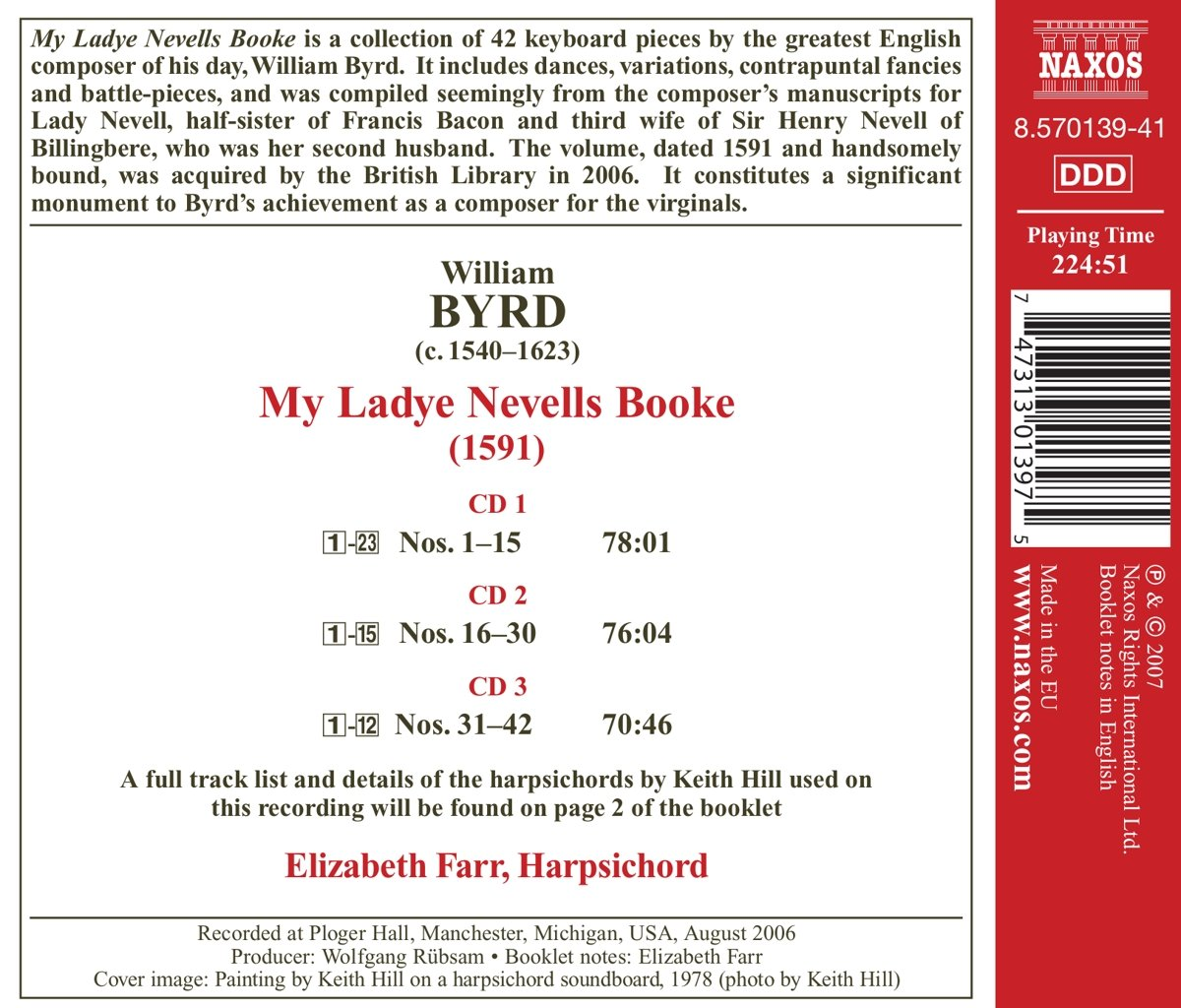 Byrd: My Ladye Nevells Booke by CD