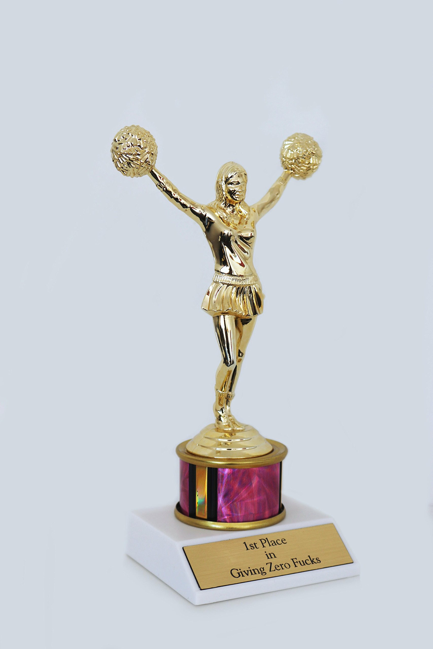 1st Place in Giving Zero Fcks Woman Trophy funny in gold and holographic pink with cheerleader cheerleading statuette by Get Bullish (Image #4)