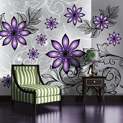 Silver And Purple Floral Pattern Wallpaper Mural Amazon Co Uk Diy