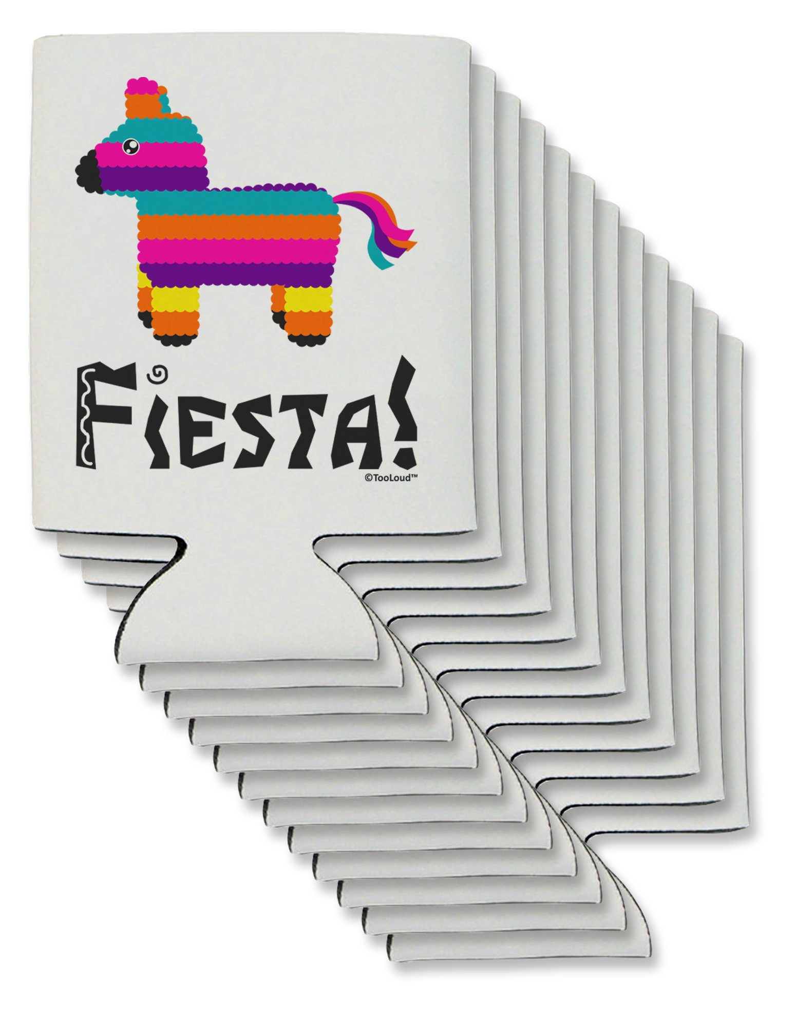 TooLoud Colorful Pinata Design - Fiesta Can/Bottle Insulator Coolers - 12 Pieces