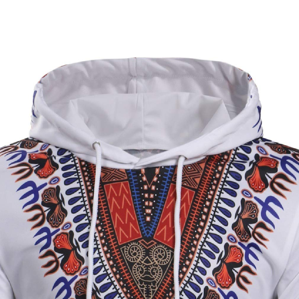 Tralounry Mens Fitted Tribal Printed Hooded Patterned Casual Sweatshirt