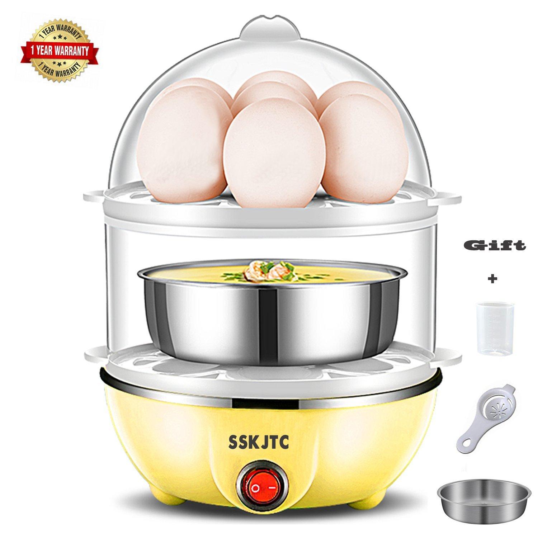 Egg Cooker Egg Poacher Double Layer Egg Cooker Microwave Egg Boiler 14 Capacity for Healthy Nutritious Breakfast Auto Shut off-Yellow