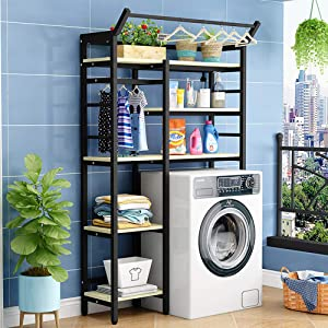 DelongKe Over Washing Machine Storage Rack Utility Metal Bathroom Shelf Space Saver Width Adjustable Organization for Laundry Room Toilet,Q