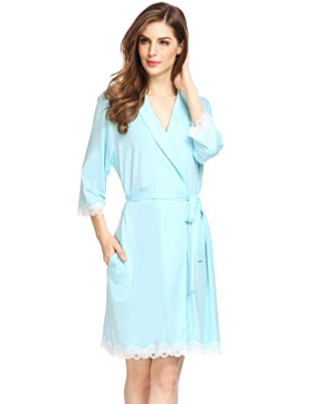 fc25bafdea Ekouaer Womens Modal Bathrobe Bridesmaids Spa Robe Solid Lace Splice Soft  Homewear