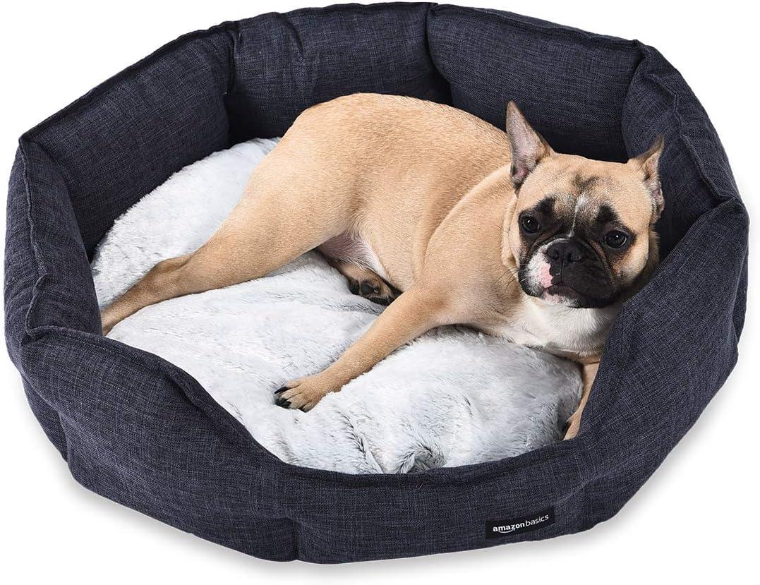 AmazonBasics Cama redonda para mascotas, de tamaño grande, gris