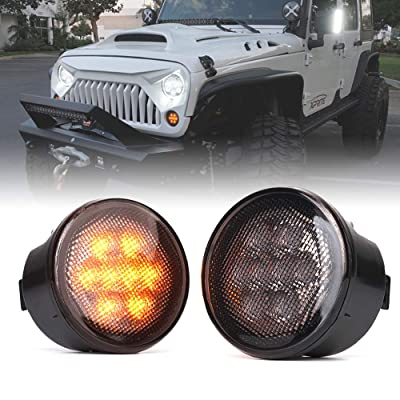 Xprite LED Turn Signal Lights Amber Smoke Lens Front Turn Signal Assembly with Parking Funtion for 2007-2020 Jeep Wrangler JK & Wrangler Unlimited: Automotive