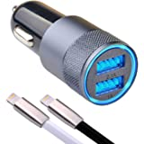 iPhone Car Charger - Car Charger iPhone 8/8 Plus - iPhone X Car Charger - Car Charger iPhone 7/7 Plus - Car Charger iPhone 6/6s Plus - 3.1A Dual Port USB two Lightning Cable Zinc Alloyed (black/white)