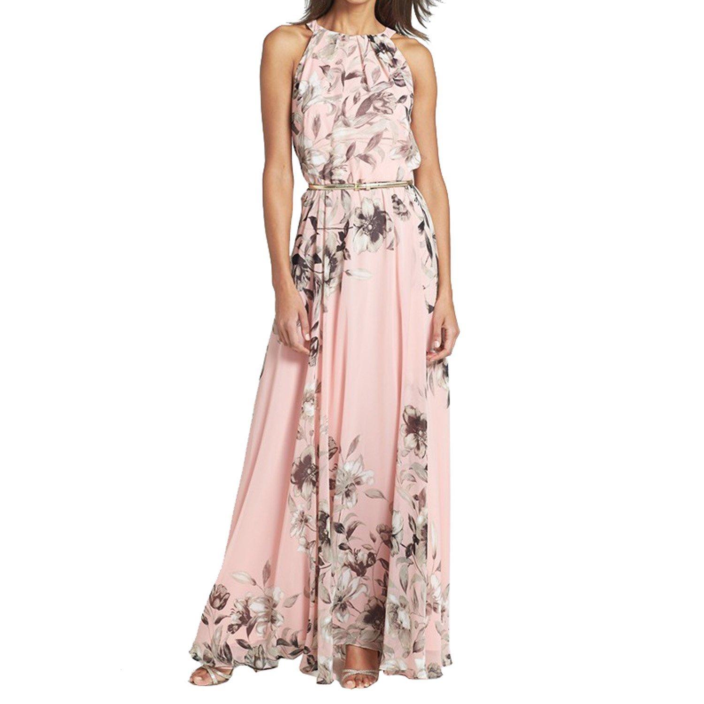 SUNNOW® Damen Sommerkleid Strandkleid Neckhodler Boho Maxikleid Blumen bedruckt Rundkragen Ärmellos Lang Rock Partykleid Abendkleid