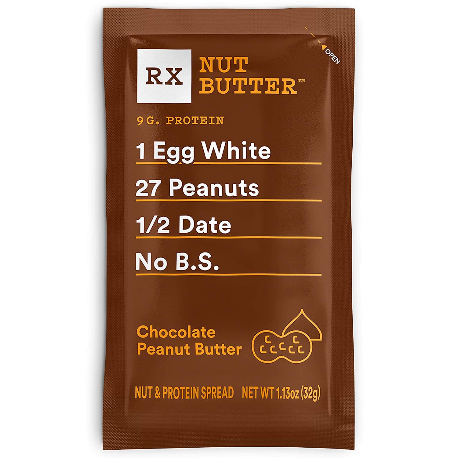 RX Nut Butter, Chocolate Peanut Butter, 10 Count, Keto Snack, Gluten Free