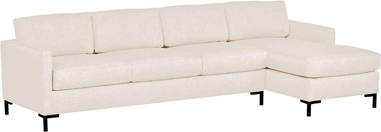 Rivet Edgewest Low Back Modern Right Chaise Sofa Sectional, 115\