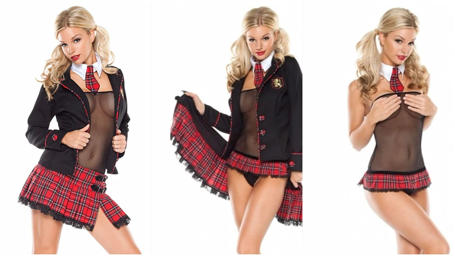 NEW WOMENS LADIES NAUGHTY SCHOOL GIRL HEN DOO FANCY DRESS PARTY OUTFIT  LINGERIE ROLE PLAY ADULT 8 - 10 UK  Amazon.co.uk  Clothing 3931bfcef771