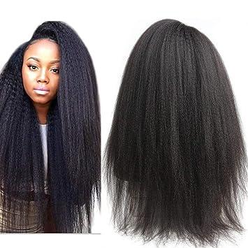 3d5ba36443c Peruvian Kinky Straight Lace Front Wig for Women Pre Plucked 150% Density  Italian Yaki Lace...