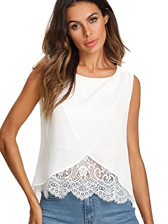 f1c6d1ef7ee42d SheIn Women's Round Neck Contrast Lace Sleeveless Chiffon Wrap Blouse at  Amazon Women's Clothing store: