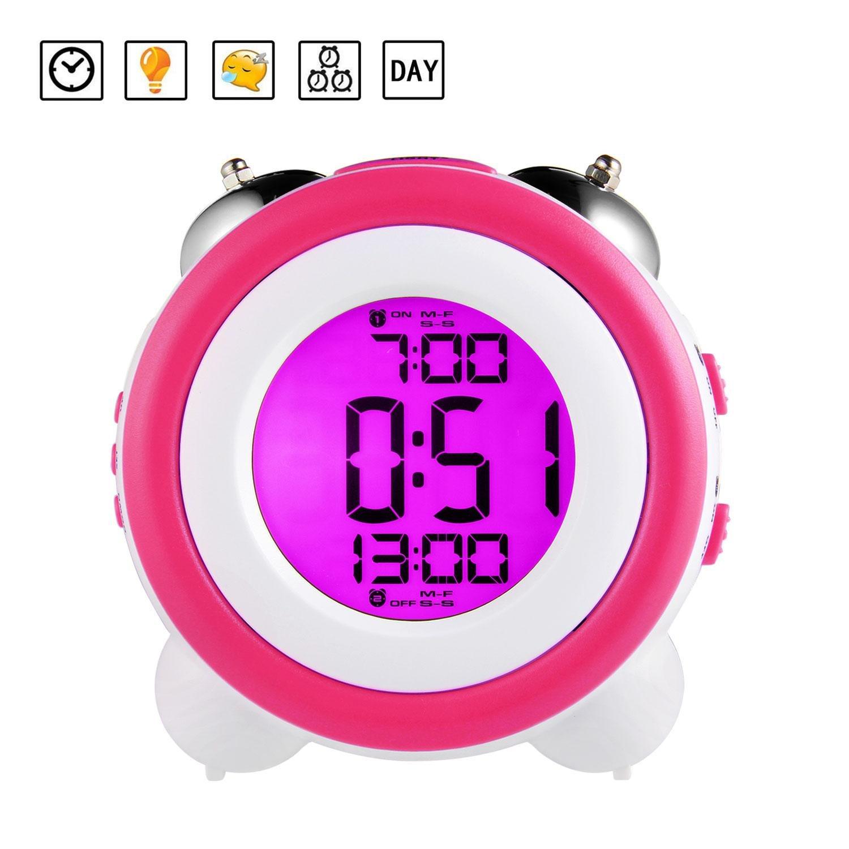 Pawaca Alarm Clock, Twin Bell Alarm Clock Pawaca Alarm Clock, Twin Bell Alarm Clock with Night Light, Battery Power, Large Display, Smart Snooze, Loud Alarm Clock for Heavy Sleepers, Adults, Kids & Teens (Blue)lts, Kids & Teens (Blue)