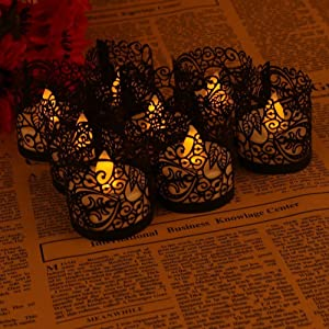 ASENART Flameless Tea Light Votive Wrap Candle Holder Set (50 Pack) for LED Battery Tealight Candles (Not Included) (Black)