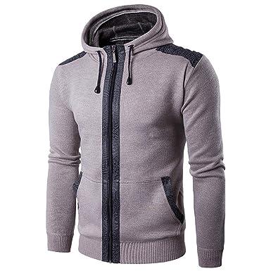 0e499b7f0fd Sweat-Shirt à Capuche Homme Manches Longues Slim Pas Cher Sweats Zippé Tops  Veste Unicolore