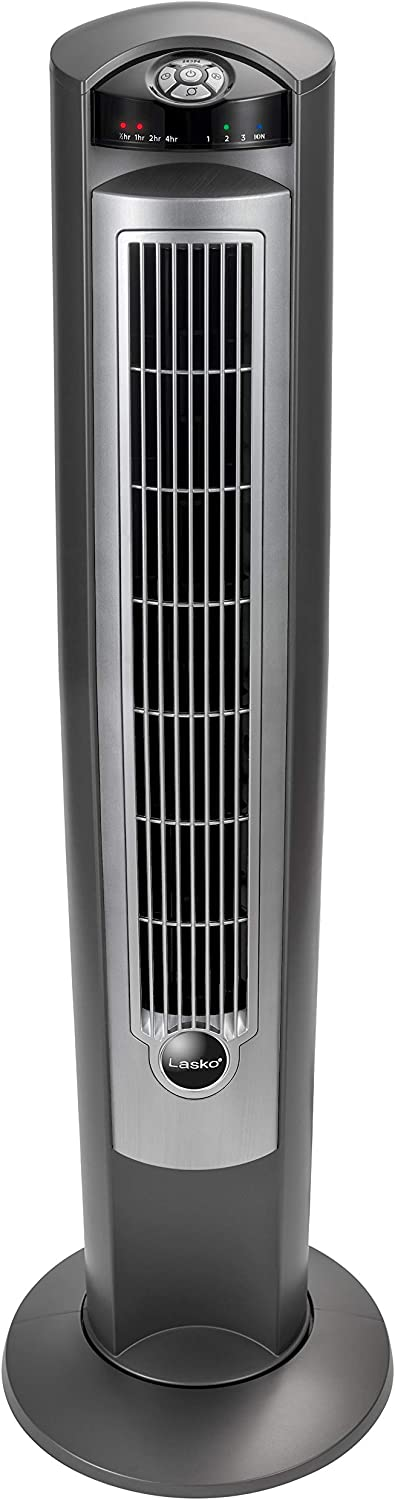 "Lasko Portable Electric 42"" Oscillating Tower Fan with Fresh Air Ionizer, Timer and Remote Control for Indoor, Bedroom and Home Office Use, Silver 2551"