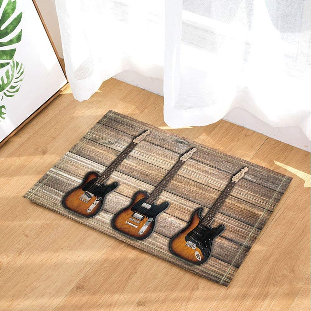 123456789 Rock Music Cor Guitarras Bajas en tablones Madera Alfombras baño Alfombrillas Antideslizantes Piso Entrada Puerta lantera Interior Alfombra 60X40CM