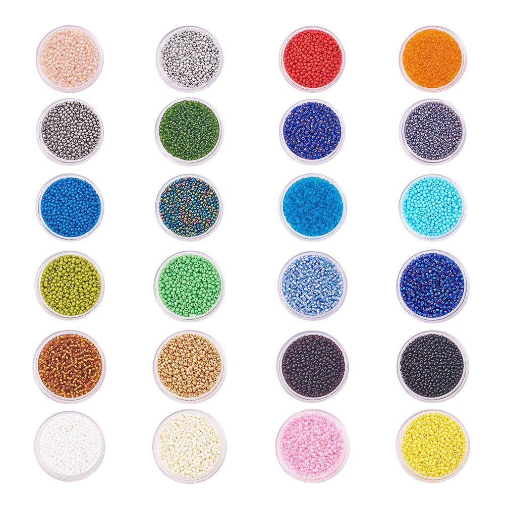 PandaHall Elite 1 Set 24 color 12/0 Round Glass Seed Beads, Loose Beads Sets for Jewelry Making,Mixed Color, 2mm, Hole: 1.5mm PH PandaHall