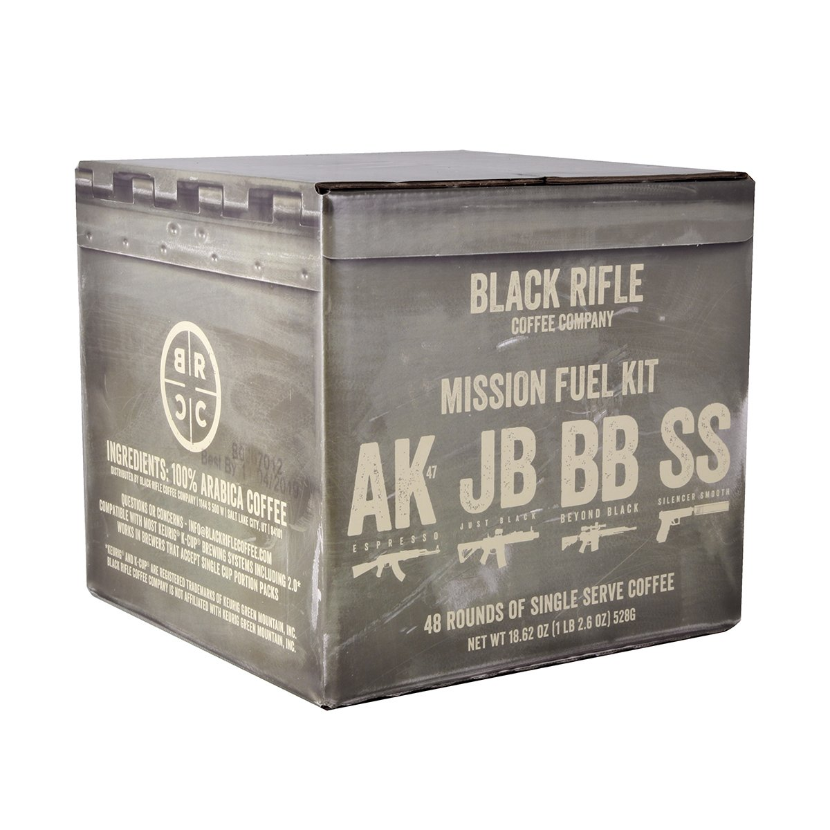 Black Rifle Coffee Company Complete Mission Fuel Kit, Coffee Rounds for Single Serve Brewing Machines (48 Count) Coffee Pods Cups