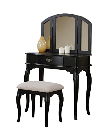 Awe Inspiring Bobkona Jaden Collection Vanity Set With Stool Black Machost Co Dining Chair Design Ideas Machostcouk