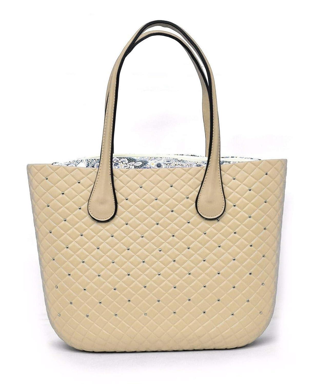 - b359 ita Beige Bolso Mini Bag 2019 con Asas Acolchadas Tachuelas Hombro Mujer fantas/ía Silicona Asas Bolsa Carcasa Completa Bordados Desmontable Completo Beige